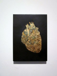 Heart of gold, gold leaf and oil on canvas 30X40 cm