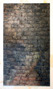 FUGUE , oil,wipes& glue on canvas 160x290 cm