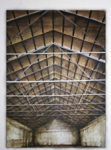 Hangar , oil pigments and shellac on canvas, 230 x 310 cm
