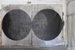 LONELY PLANET (diptych),graphite on canvas 210 x 290 cm (x2)
