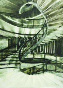 Spiral Staircase ,oil and spray on canvas 210 X 300 cm