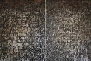 STEP STONES (diptych)  , wipes ,asphalt ,oil and glue on canvas, 400x300 cm