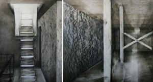 Echo and mineral wool (diptych),charcoal and oil on canvas 365X200 cm