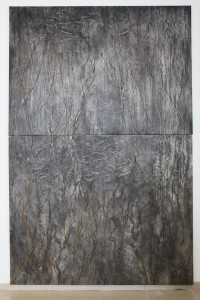 CLIMATE , Branches ,charcoal and glue on canvas , 300X200 CM