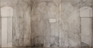 Demons  (triptych), graphite, Charcoal  & oil on canvas, 645x315 cm
