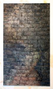 FUGUE, wipes,glue & oil  on canvas 160x290 cm