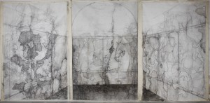 SHEIKH'S TOMB (triptych) Charcoal, graphite and oil on canvas,  290x160 cm 3