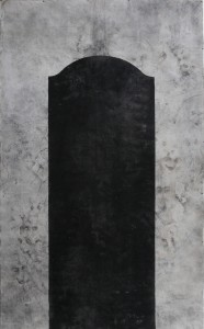 Tombstone To the crisis, iron oxide ans black gesso on canvas, 200x300 cm