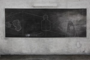 State of mind on Board  , chalk & oil on canvas 400x300 cm