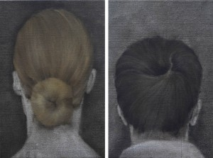 He , She, oil on canvas, 25x40 cm (x2)