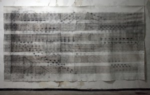 Play me ,charcoal,graphite and iron oxide on canvas- 395x200 cm
