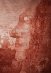 Regardez Nous, red oxide powder on canvas, 300X200 cm