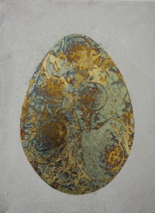Egg of gold. gold, mix media on canvas, 40x50 cm