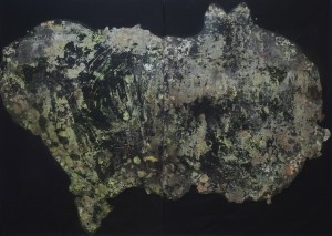 atlas, diptich- the smaller piece-World's stomach or the beast ,mix media on canvas(plaster,glue ,polichrom and paint)_resize